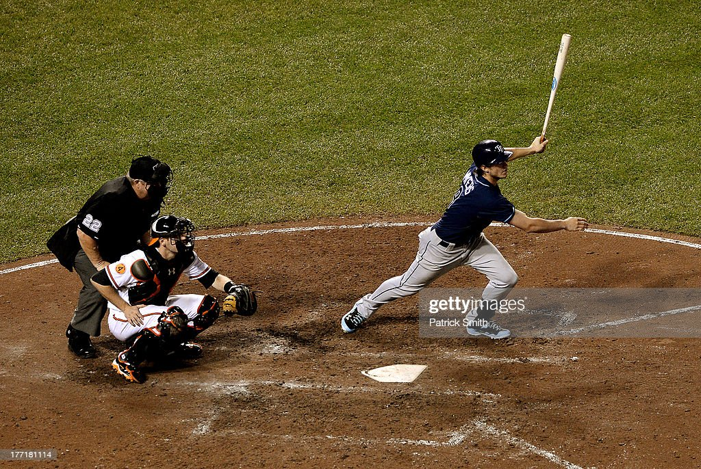 <a gi-track='captionPersonalityLinkClicked' href=/galleries/search?phrase=Wil+Myers&family=editorial&specificpeople=7562808 ng-click='$event.stopPropagation()'>Wil Myers</a> #9 of the Tampa Bay Rays singles against the Baltimore Orioles in the ninth inning at Oriole Park at Camden Yards on August 21, 2013 in Baltimore, Maryland. The Baltimore Orioles won, 4-2.
