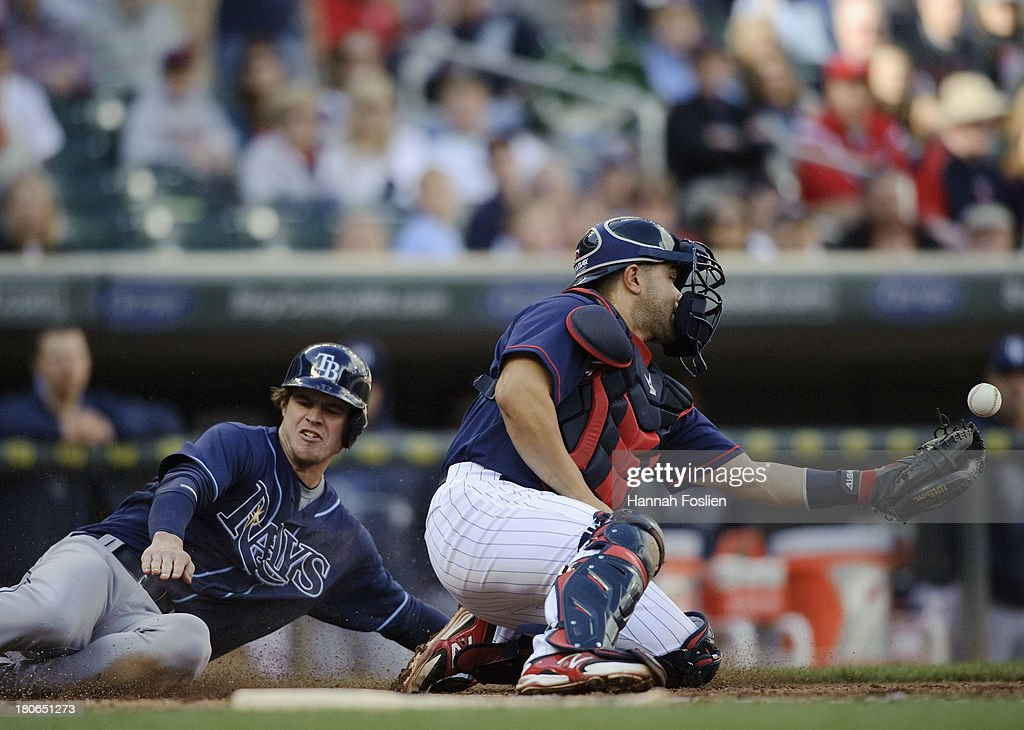 <a gi-track='captionPersonalityLinkClicked' href=/galleries/search?phrase=Wil+Myers&family=editorial&specificpeople=7562808 ng-click='$event.stopPropagation()'>Wil Myers</a> #9 of the Tampa Bay Rays slides safely into home plate as Josmil Pinto #43 of the Minnesota Twins bobbles the ball during the eighth inning of the game on September 15, 2013 at Target Field in Minneapolis, Minnesota. The Twins defeated the Rays 6-4.