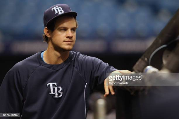 Wil Myers of the Tampa Bay Rays watches batting practice before the start of the game against the Minnesota Twins at Tropicana Field on April 23 2014...