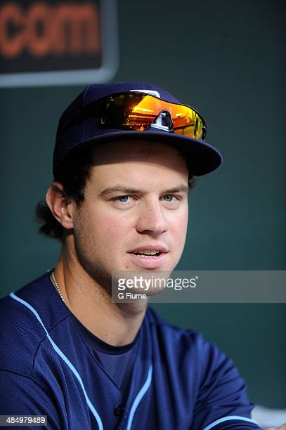 Wil Myers of the Tampa Bay Rays watches the game against the Baltimore Orioles at Oriole Park at Camden Yards on April 14 2014 in Baltimore Maryland