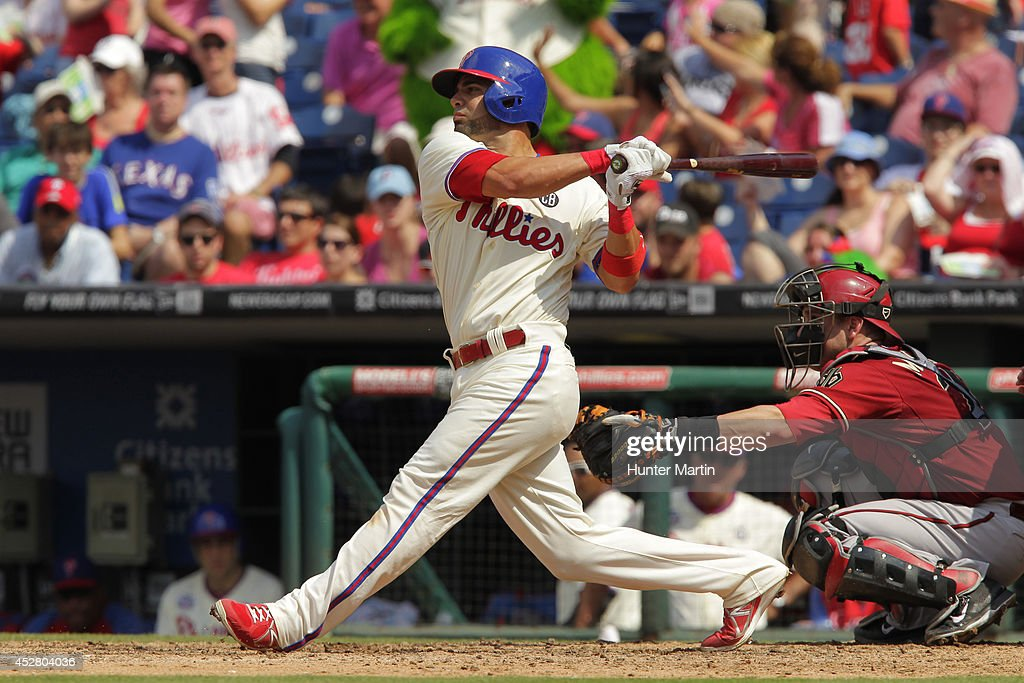 <a gi-track='captionPersonalityLinkClicked' href=/galleries/search?phrase=Wil+Nieves&family=editorial&specificpeople=835752 ng-click='$event.stopPropagation()'>Wil Nieves</a> #21 of the Philadelphia Phillies bats in the seventh inning during a game against the Arizona Diamondbacks at Citizens Bank Park on July 27, 2014 in Philadelphia, Pennsylvania.