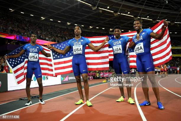 Wilbert London III Gil Roberts Michael Cherry and Fred Kerley of the United States celebrate after winning silver in the Men's 4x400 Metres Relay...