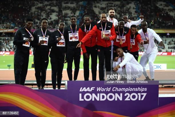Wilbert London III Gil Roberts Michael Cherry and Fred Kerley of the United States silver Jarrin Solomon Jereem Richards Machel Cedenio and Lalonde...