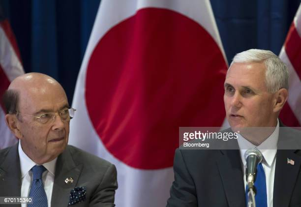 Wilbur Ross US secretary of commerce left and US Vice President Mike Pence attend a meeting with US and Japanese based business leaders in Tokyo...