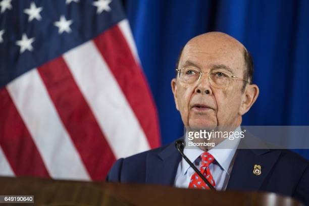Wilbur Ross US Secretary of Commerce speaks during a news conference at the US Department of Commerce in Washington DC US on Tuesday March 7 2017...
