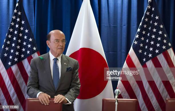 Wilbur Ross US secretary of commerce waits for the arrival of US Vice President Mike Pence not pictured during a meeting with US and Japanese based...