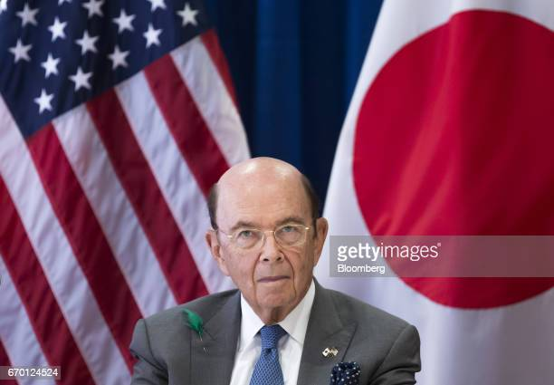 Wilbur Ross US secretary of commerce waits for the arrival of US Vice President Mike Pence not pictured during a meeting with US and Japanese...