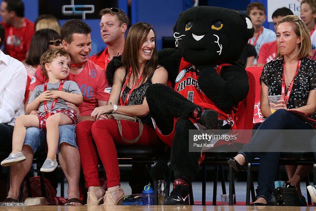 Wilbur the Wildcats mascot sits courtside with spectators during the round 23 NBL match between the Perth Wildcats and the Cairns Taipans at Perth Arena on March 17, 2013 in Perth, Australia.