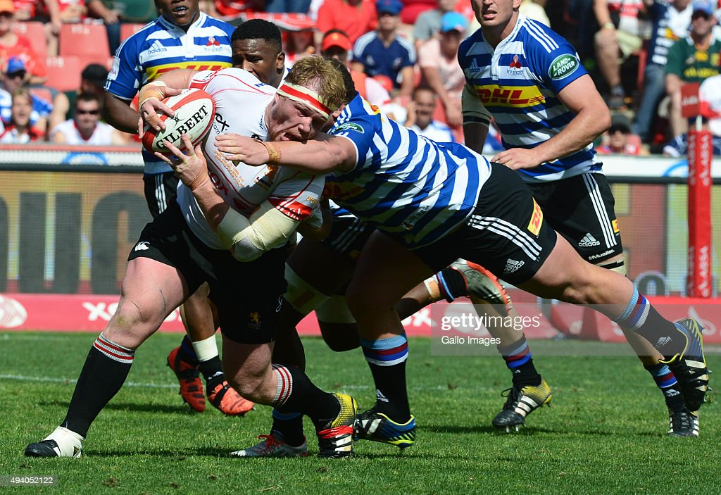 Wilco Louw of the WP tackles Jacques van Rooyen of the Lions during the Absa Currie Cup Final match between Xerox Golden Lions and DHL Western...