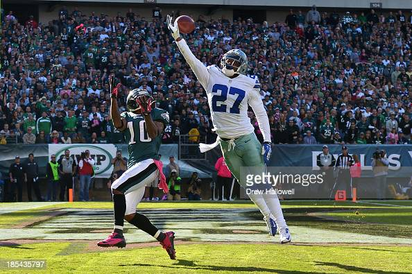 J Wilcox of the Dallas Cowboys breaks up a pass in the end zone intended for DeSean Jackson of the Philadelphia Eagles at Lincoln Financial Field on...