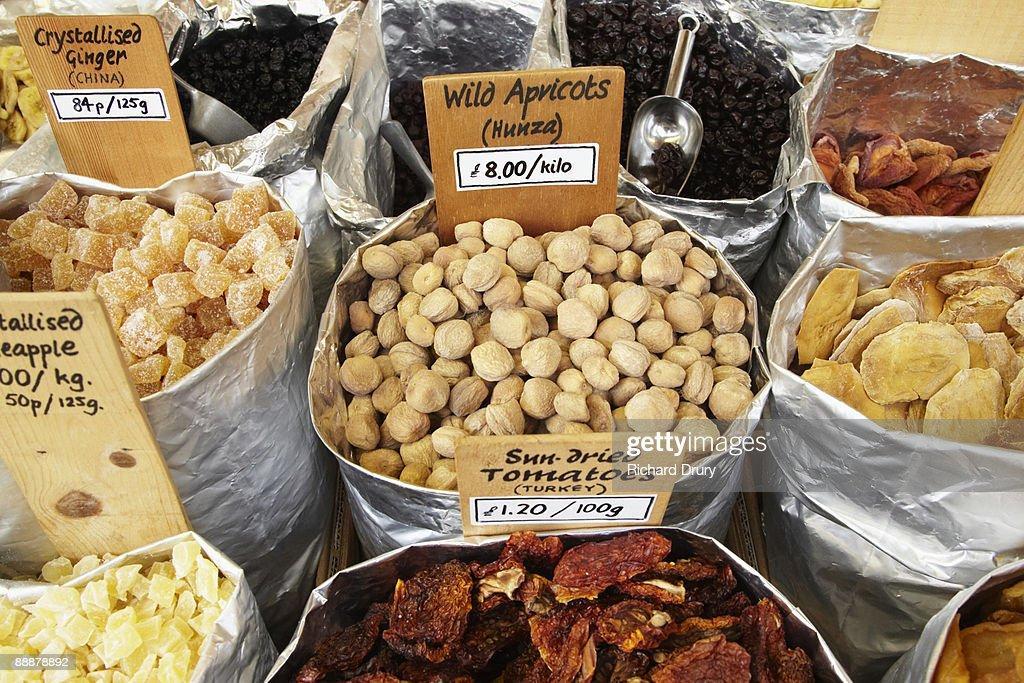 Wild apricots on market stall : Stock Photo