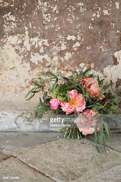 A wild bouquet of wedding flowers, peonies