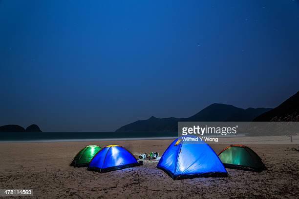 Wild camping under moonlight