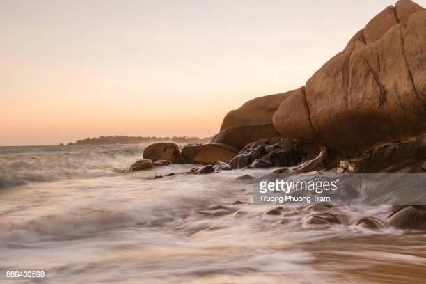 Wild coast beach with a lot of rock at Co Thach, Binh Thuan, Vietnam