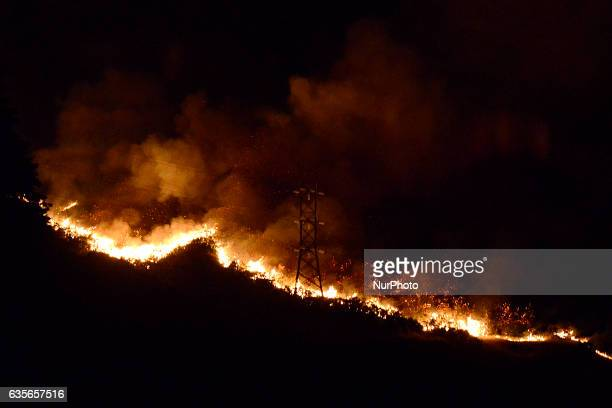 Wild fire over the Port Hills in the Victoria Park area near Christchurch New Zealand Wednesday Feb 15 2017 Up to 15 helicopters and over a 100...