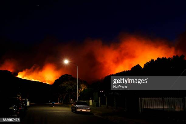 Wild fire over the Port Hills in the Worsleys area near Christchurch New Zealand Wednesday Feb 15 2017 Up to 15 helicopters and over a 100...