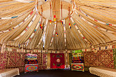 the frame of the Yurt trip in Kazakhstan, the upper part of the Yurt inside view
