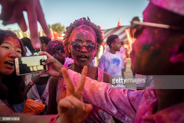 Wild on Colour is the fourth festival of electronic music in Windhoek Namibia on April 30 2016 Visitors colour each other with holi powder during the...