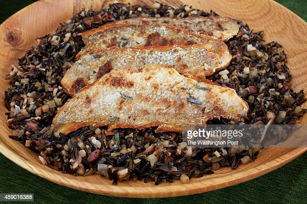 Wild Rice Salad With Crispy Trout from the Virginia Heritage menu from Tarver King chef at Patowmack Farm in Lovettsville VA