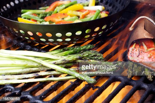 Wild Salmon fillet asparagus grilled peppers bbq