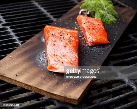 Wild Salmon fillet outdoor cedar plank bbq grill