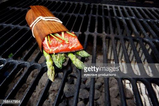 Wild Salmon fillet outdoor cedar wrap bbq grill