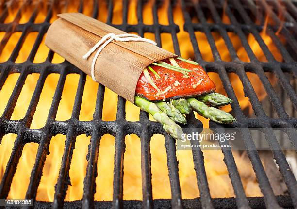 Wild Salmon fillet outdoor cedar wrap bbq grill