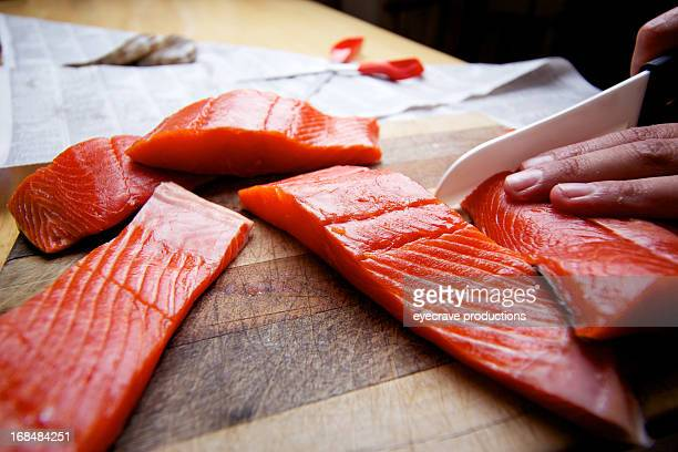 Wild Salmon raw fillet on cutting board