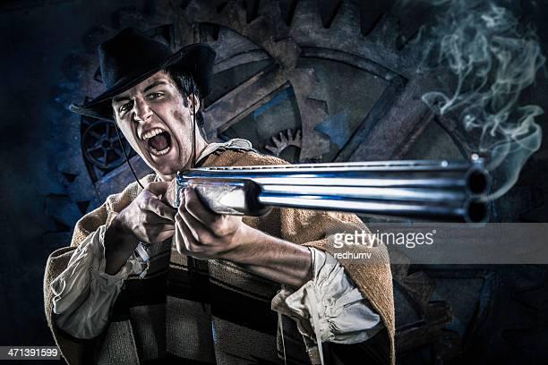 Wild Steampunk Cowboy with Smoking Shotgun