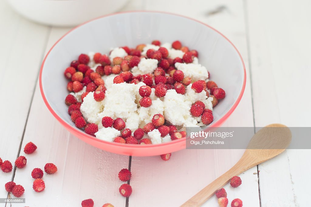 Wild strawberry mit Hüttenkäse : Stock-Foto