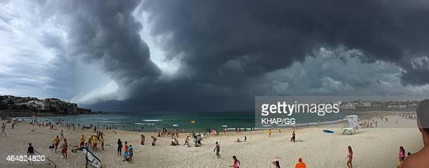 Wild weather hits Bondi beach on March 1 2015 in Sydney Australia