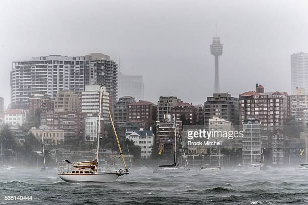 Wild weather sweeps across Elizabeth Bay on June 5 2016 in Sydney Australia The Bureau of Meteorology is forecasting up to 300mm of rain over the...