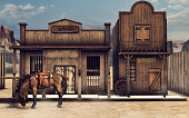 Colorful Wild West scenery with a horse in front of a bank. 3D render.
