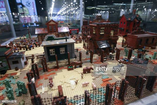 Wild West city model made with LEGO bricks is seen on LEGO bricks exhibition on 3 March 2017 in Galeria Metropolia in Gdansk Poland