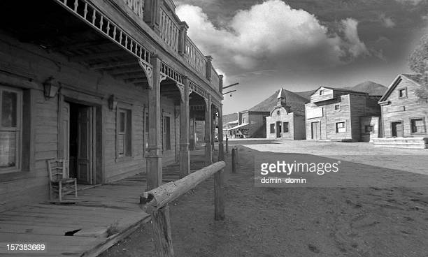 Wild West, old wooden buildings, houses in black and white