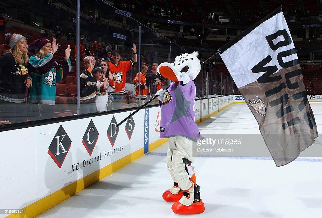 Wild Wing celebrates the Anaheim Ducks win against the Nashville Predators on October 26, 2016 at Honda Center in Anaheim, California.