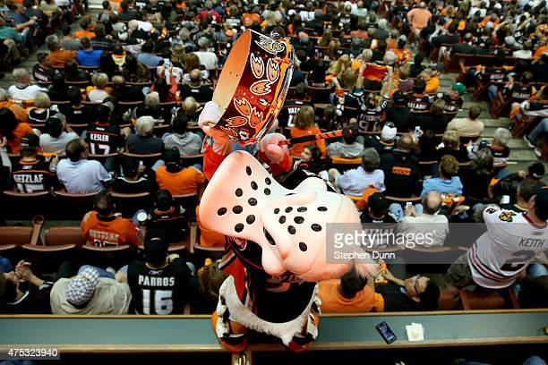 Wild Wing is seen in the third period as the Anaheim Ducks take on the Chicago Blackhawks in Game Seven of the Western Conference Finals during the...