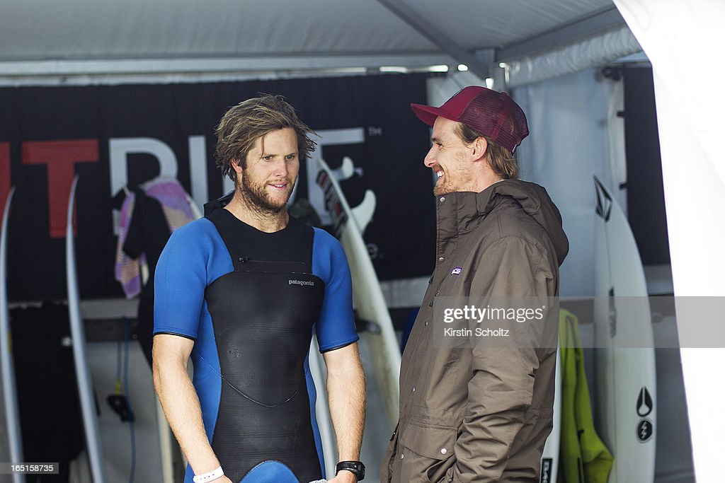 Wildcad Jack Perry of Australia talks to Daniel Ross of Australia after his round two heat loss at the Rip Curl Pro on March 31, 2013 in Bells Beach, Australia.