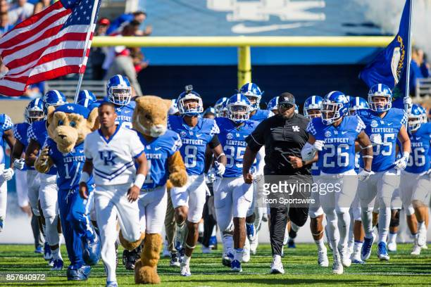 Wildcat the Kentucky mascot leads the Wildcats out onto the field before a regular season college football game between the Eastern Michigan Eagles...