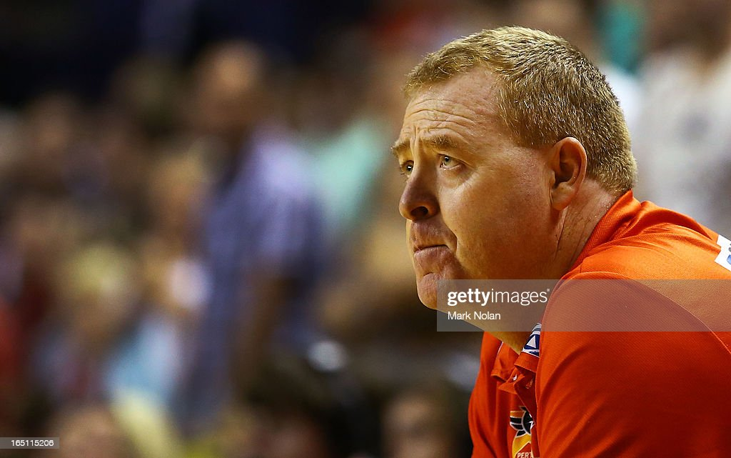 Wildcats coach Rob Beveridge watches on during game two of the NBL Semi Final series between the Wollongong Hawks and the Perth Wildcats at WIN Entertainment Centre on March 31, 2013 in Wollongong, Australia.