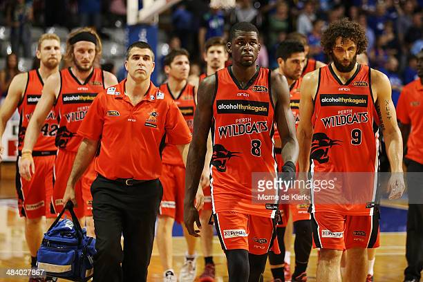 Wildcats players leave the court after game two of the NBL Grand Final series between the Adelaide 36ers and the Perth Wildcats at Adelaide...