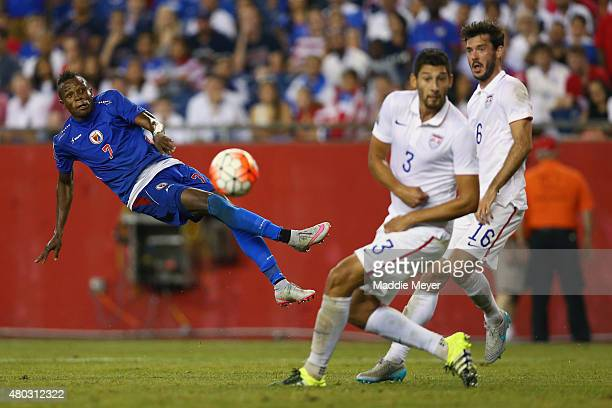 WildeDonald Guerrier of Haiti takes a shot on goal during the 2015 CONCACAF Gold Cup Group A match between United States and Haiti at Gillette...