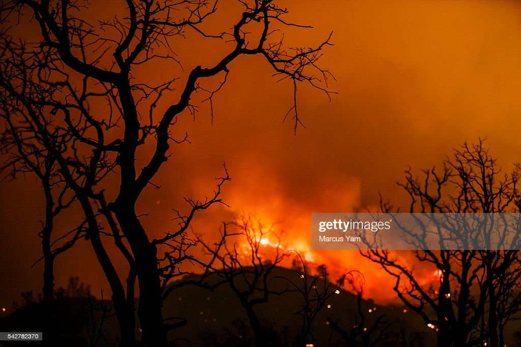 Wildfire engulf the mountains in Lake Isabella, Calif., on June 23, 2016.