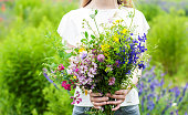 Beauty girl holding a bouquet of wildflowers