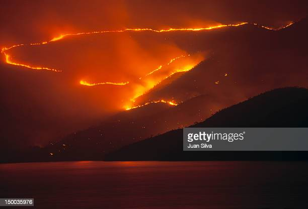 Wildi fire on mountains at Mochima National Park