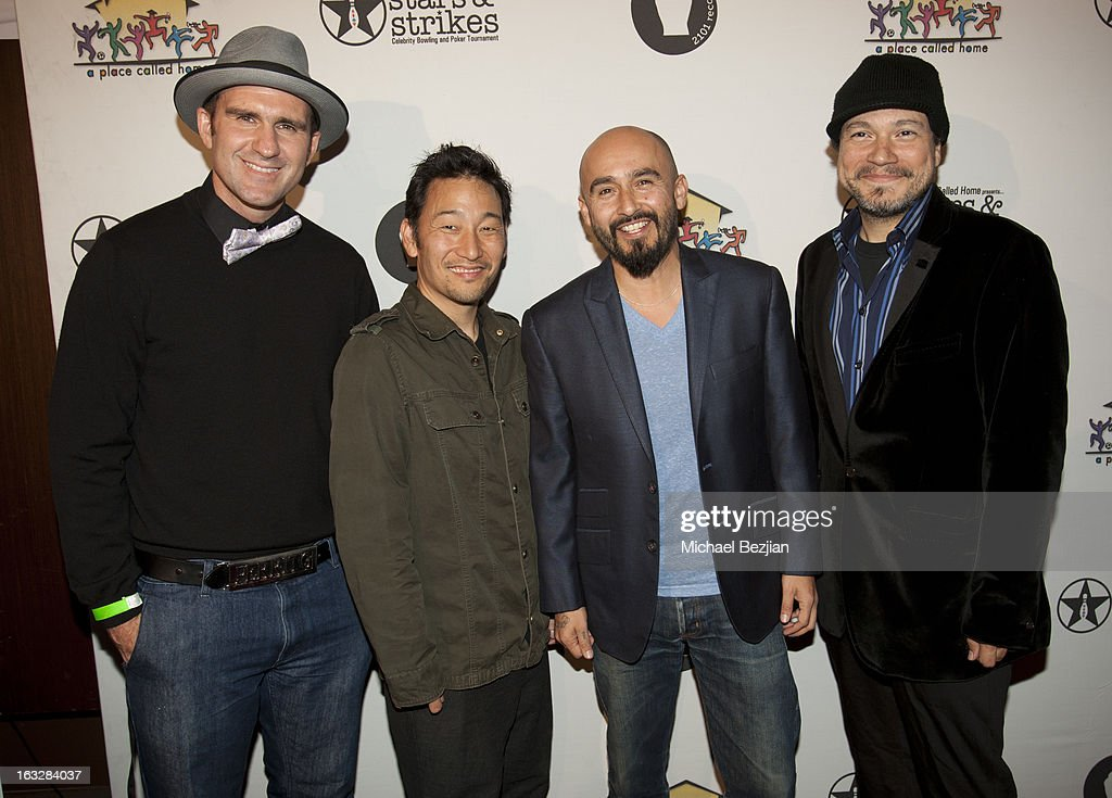 Wil-Dog Abers, Jiro Yamaguchi, Raul Pacheco and Asdru Sierra of Ozomatli attend the 7th Annual 'Stars and Strikes' Celebrity Bowling And Poker Tournament Benefiting A Place Called Home at PINZ Bowling & Entertainment Center on March 6, 2013 in Studio City, California.