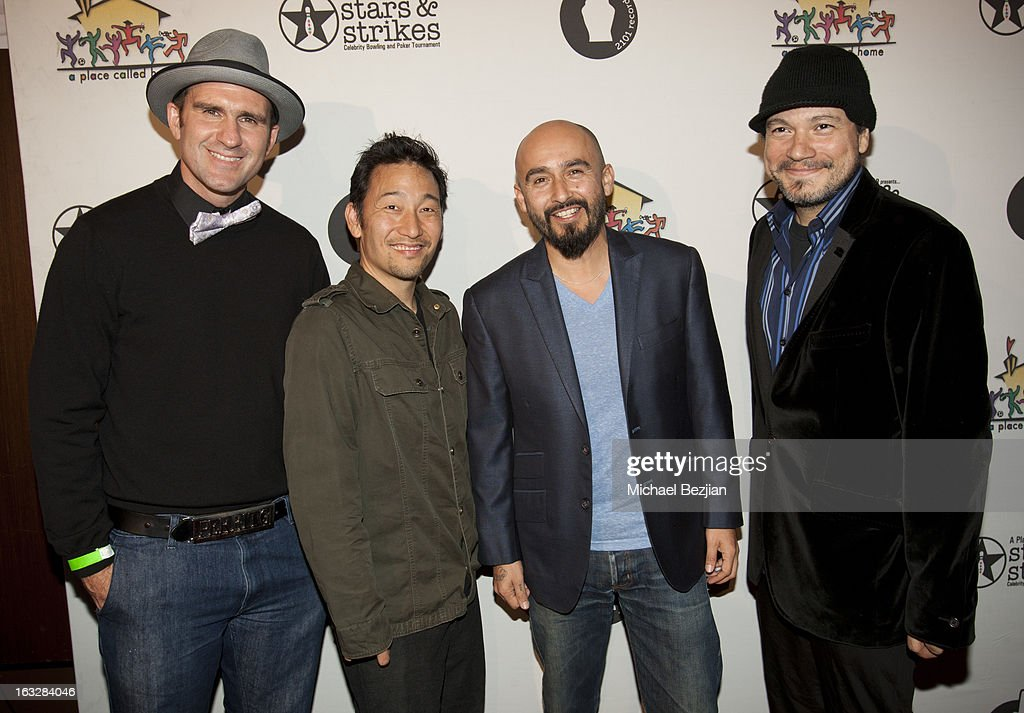 WilDog Abers Jiro Yamaguchi Raul Pacheco and Asdru Sierra of Ozomatli attend the 7th Annual 'Stars and Strikes' Celebrity Bowling And Poker...