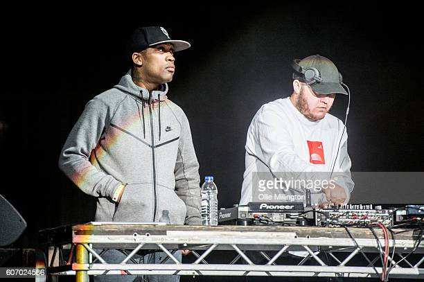 Wiley and DJ Maximum perform on the mainstage with Skepta during the 2nd day of Bestival 2016 at Robin Hill Country Park on September 10 2016 in...