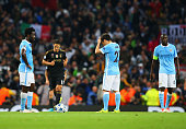 Wilfred Bony David Silva and Yaya Toure of Manchester City look dejected as Alvaro Morata of Juventus scores their second goal during the UEFA...
