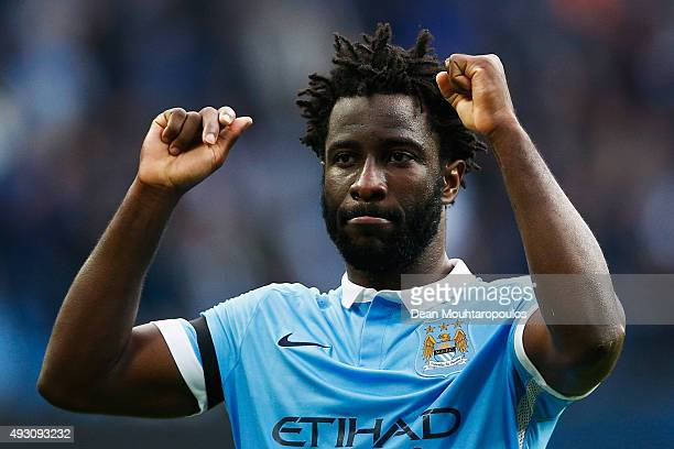 Wilfred Bony of Manchester City celebrates scoring his team's fifth goal during the Barclays Premier League match between Manchester City and AFC...